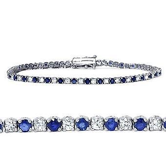 3ct Blue Sapphire & Diamond Genuine Tennis Bracelet 14K White Gold