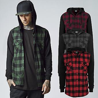 Urban classics - HOODED flannel lumberjack shirt
