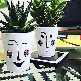 Ceramic Monochrome Face Flower Plant Pots For Home And Garden