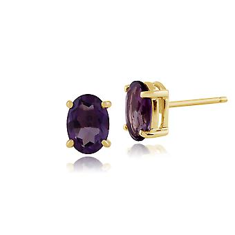Gemondo 9ct Yellow Gold 1.27ct 4 Claw Set Amethyst Oval Stud Earrings 7x5mm