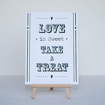 Candy Sweet Bar teken wit 'Love Is Sweet' teken en ezel Stand - huwelijk v2