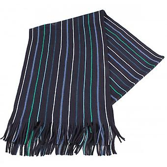 Bassin and Brown Illingworth Stripe Scarf - Navy/Green/White