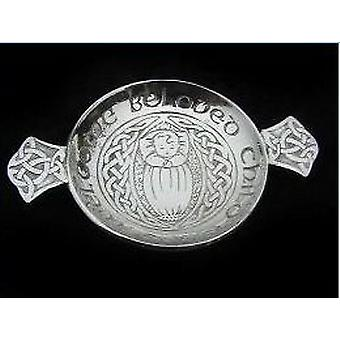 Welcome Beloved Child Pewter Quaich - 130mm