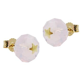 Earring with star Stud Earrings gold 585 connector, glass pink pink star 14 KT GOLD