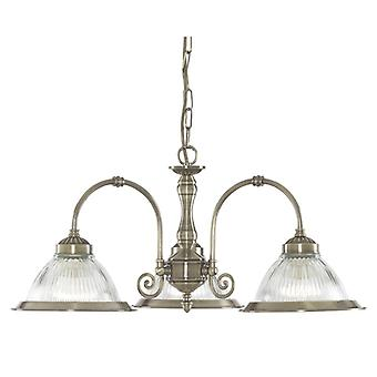 American Diner 3 Light Fitting Antique Brass With Clear Glass