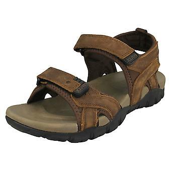 Mens Reflex Flat Hook & Loop Sandals A0052 - Dark Brown Leather - UK Size 10 - EU Size 44 - US Size 11