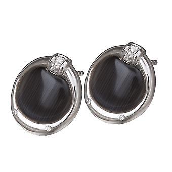 Orphelia Silver 925 Earring Zirconium Black Cateye ZO-5900