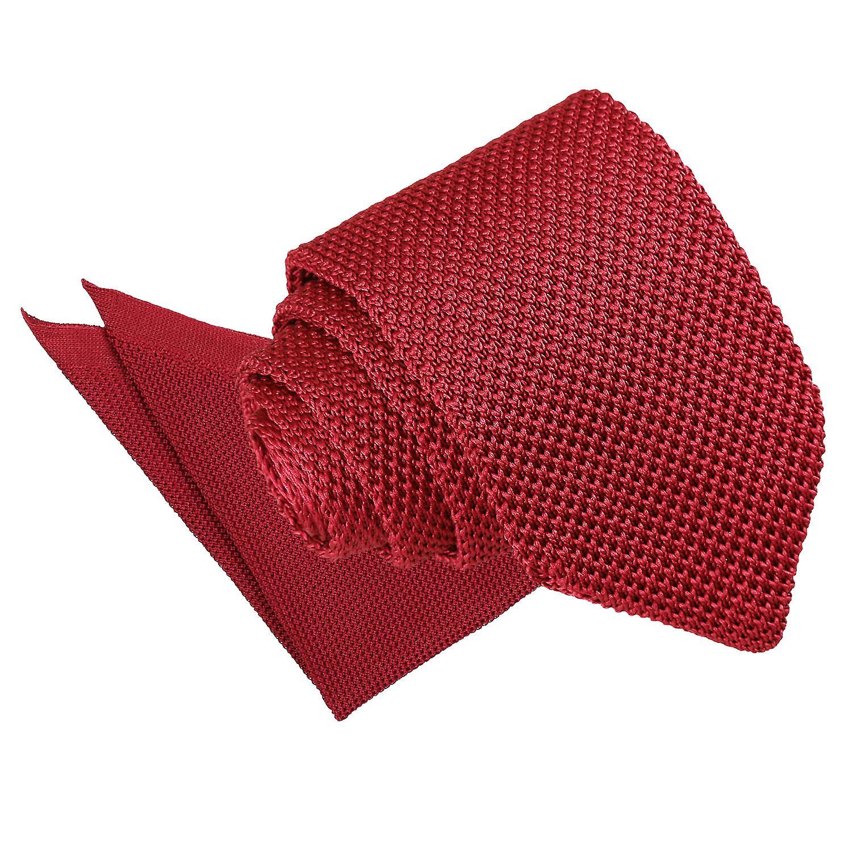 Burgundy Knitted Slim Tie & Pocket Square Set