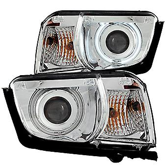 AnzoUSA 121311 Chrome Clear Projector Halo Headlight for Chevrolet Camaro - (Sold in Pairs)