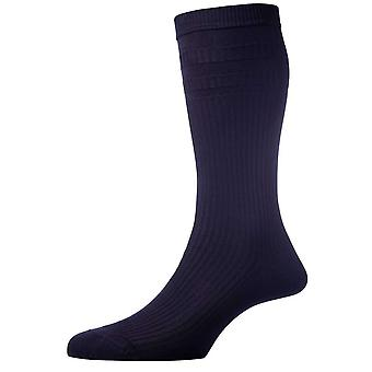 Pantherella Ickburgh Graduated Rib Cotton Lisle Socks - Navy