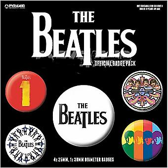 The Beatles (Black) 5 Round Pin Badges In Pack