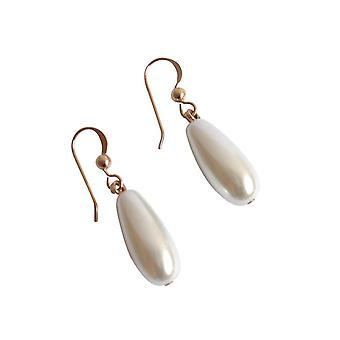 GEMSHINE Damenohrringe mit weißen Perlen Tropfen. 2,5 cm lange hochwertig vergoldete Ohrhänger - Made in München / Germany - Im eleganten Schmucketui mit Geschenkverpackung geliefert.