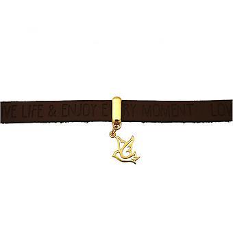 Damen - Armband - Frieden - Taube - Flügel - 925 Silber Vergoldet - WISHES - Braun Dunkel - Magnetverschluss