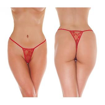 'Amorable' by Rimba Lingerie Red Lace Mini Tanga Thong Briefs (R1385)