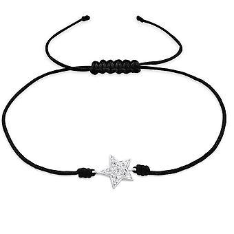 Star - 925 Sterling Silver + Nylon Cord Corded Bracelets - W25473x