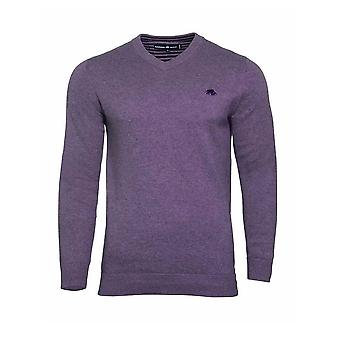 V-Neck Cott/Cash Sweater - Purple