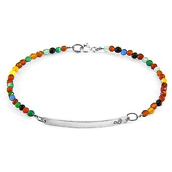 Multicoloured Agate Purity Silver and Stone Bracelet
