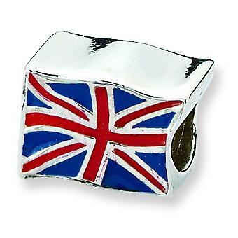 Sterling Silver Enamel Polished Antique finish Reflections United Kingdom Flag Bead Charm