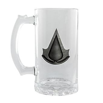 Assassin's creed beer mug metal logo transparent, glass, capacity approx. 500 ml., in gift box.