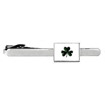 David Van Hagen irischen Shamrock Tie Clip - silber/weiß/grün