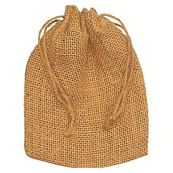 10 Natural Hessian Drawstring Pouch Gift Bags - 12x15cm | Gift Wrap Supplies
