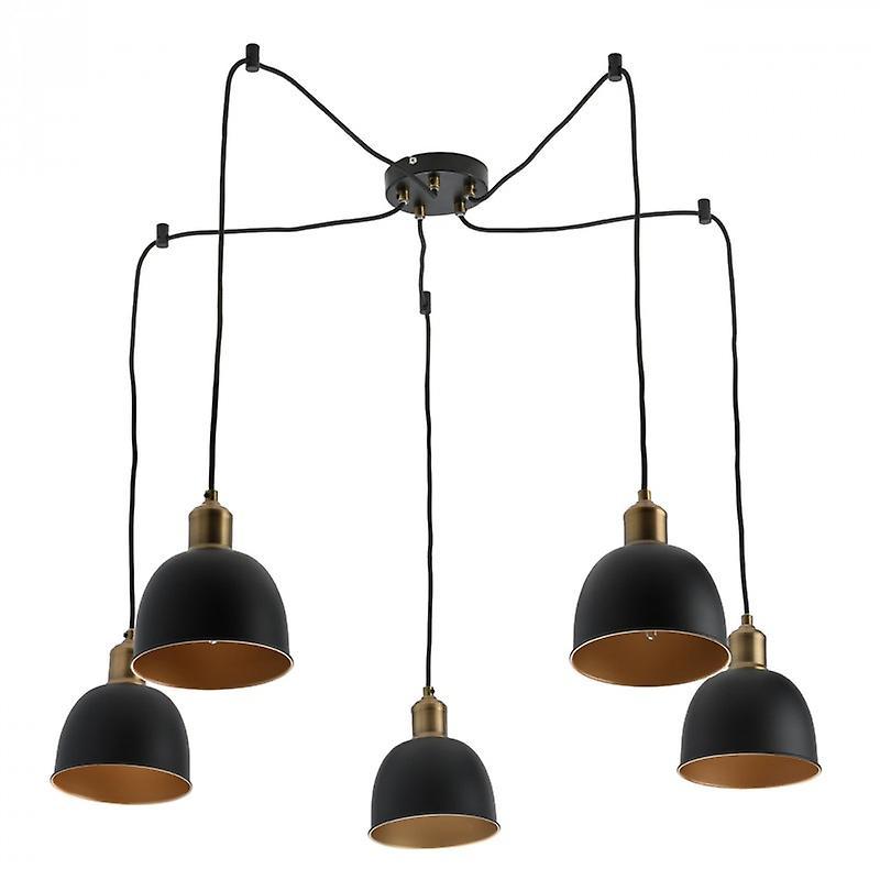 Industrial Brass Pendant Lamp 5 Lights