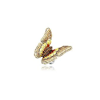 Yellow Crystal Butterfly Ring and Rhodium Plate