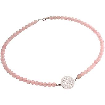 GEMSHINE ladies necklace Choker: Yoga mandala and Rose Quartz gemstones. Silver, gold plated or gold plated rose. Made in Munich, Germany. In a fine case.