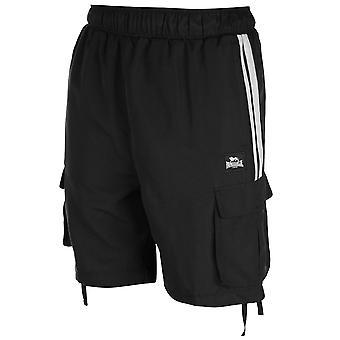 Lonsdale Mens 2 Stripe Cargo Shorts Woven Pants Trousers Bottoms Zip Mesh