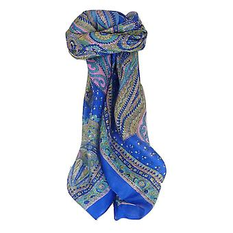 Mulberry Silk Traditional Square Scarf Zilli Blue by Pashmina & Silk