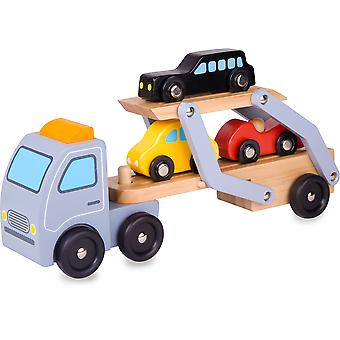 Classic World - Wooden Car Transporter - Childrens Push Along Toy Vehicle Carrier with removable cars and trailer