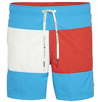 Tommy Hilfiger Colour Block Swim Shorts, Atomic Blue / Flame Scarlett, Medium