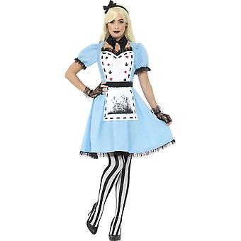 Deluxe Dark Tea Party Costume, Blue, with Dress, Attached Apron, Collar, Tights & Headband