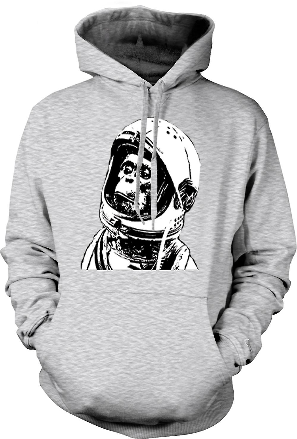 Mens Hoodie - Space Monkey Black & White Drawing