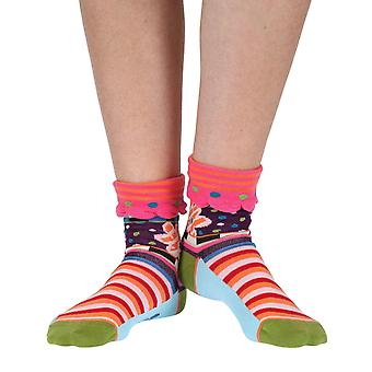 Seventies women's cotton turn-over crew socks in purple | Dub & Drino