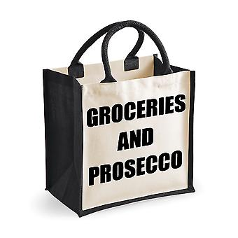 Medium Black Jute Bag Groceries And Prosecco