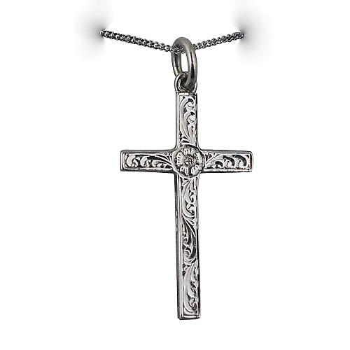 9ct White Gold 30x18mm Victorian Hand engraved solid block Cross with a curb chain