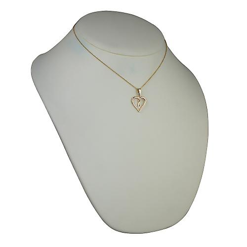 9ct Gold 18x18mm initial G in a heart Pendant with a cable Chain 16 inches Only Suitable for Children