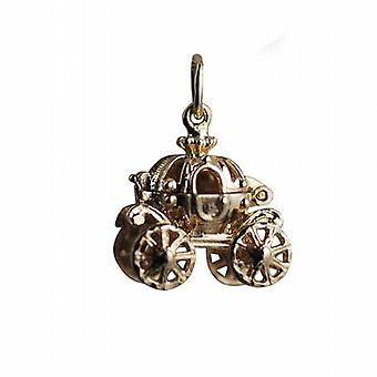 9ct Gold 15x16mm rörliga Cinderella coach Charm