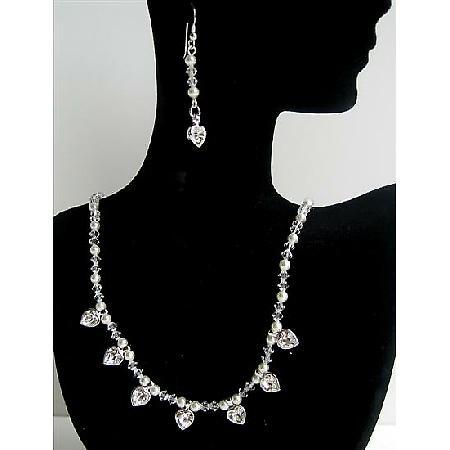 Swarovski Handmade Jewelry Clear Crystals White Pearls Heart Pendants