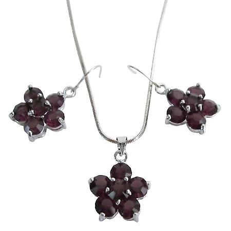 Amethyst Crystal Flower Pendant Earrings Set Holiday Gifts At Budget Price