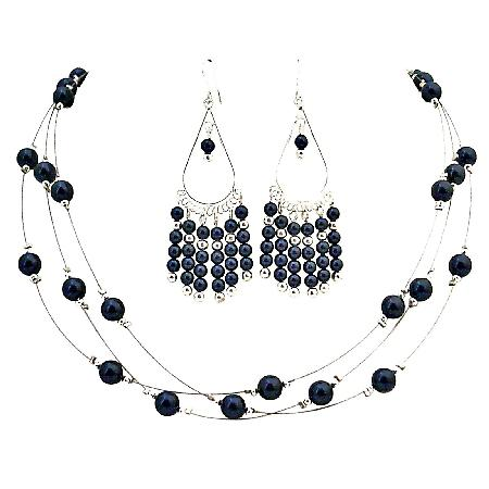 Dark Purple Pearls Jewelry with Chandelier Earrings Perfect Gift