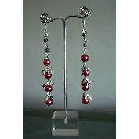Chandelier Earrings Cultured Pearls Red D.Grey & Cream Colors Earrings