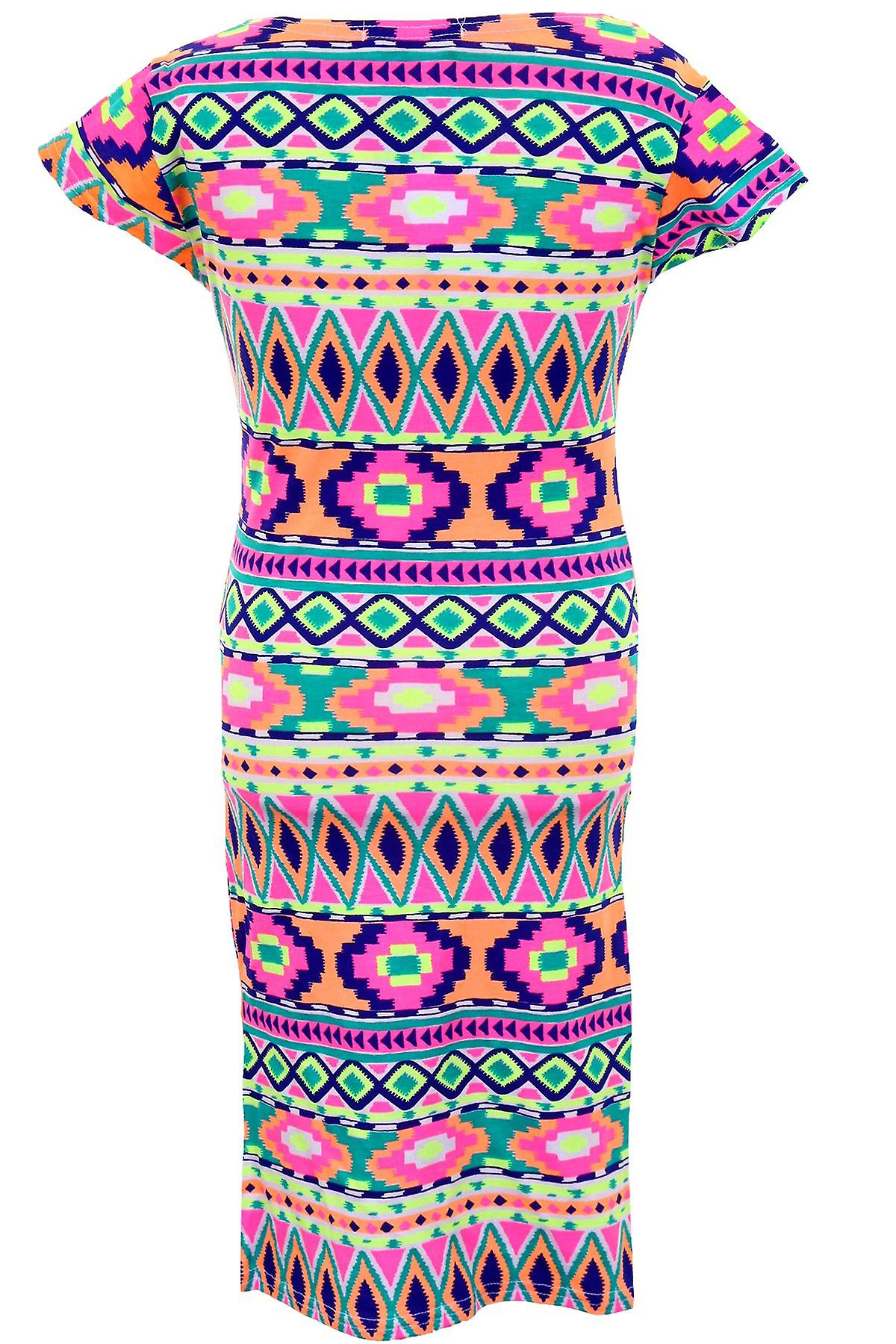 Children's Cap Sleeve Luminous Neon Comic Floral Funky Print Girls Fitted Dress