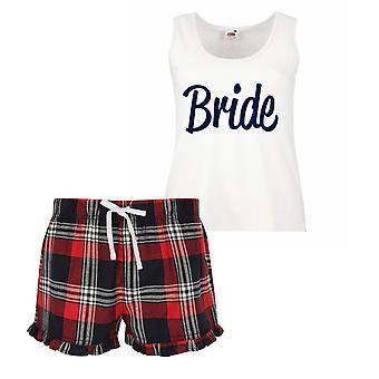 Braut Damen Tartan Rüschen kurze Pyjama Set rot, blau oder grün, blau