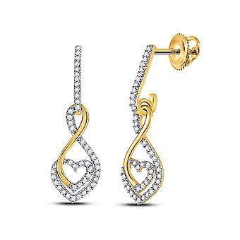 1/4 Carat (ctw H-I, I2-I3) Diamond Heart Earrings in 10K Yellow Gold