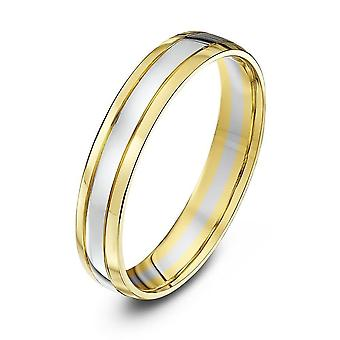 Star anneaux de mariage 18 carats jaune & or blanc cour forme 4mm bague de mariage
