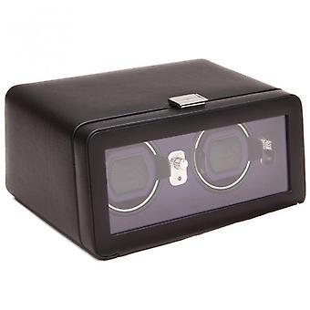 Wolf Designs Windsor Purple & noir cuir Double Watch Winder 2.5 avec couvercle