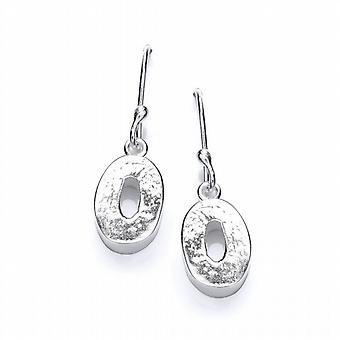 Cavendish French Tiny Textured Silver 'O' Earrings