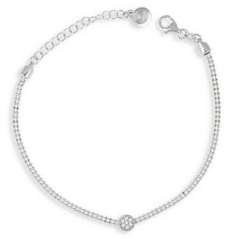 Rhodié silver arm band med Cubic zirconia 17cm-3cm
